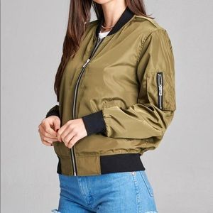 Jackets & Blazers - Olive Contrast Light Weight Bomber